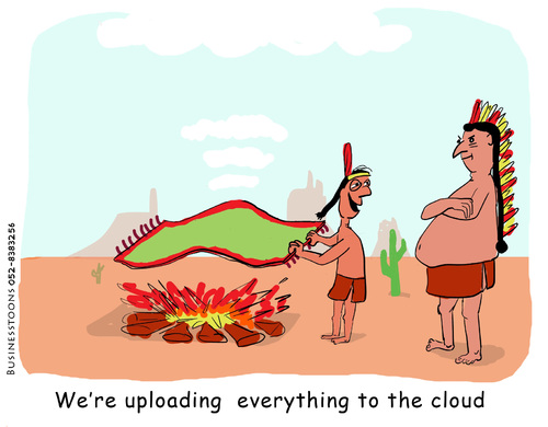 Cartoon: cloud computing (medium) by roy friedler tagged smoke,indians,computing,cloud