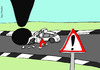 Cartoon: warning sign (small) by roy friedler tagged sign,warning,accident