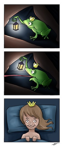 Cartoon: Once upon a time.. (medium) by tinotoons tagged fairytale,frog,prince,princess,tongue,tino