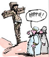 Cartoon: Hippie (small) by bob tagged jesus,christus,kreuzigung,bob,hack,hippie,rumhängen