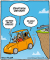 Cartoon: der Tod Cartoon (small) by nicofauser tagged cartoon,cartoons,böse,humor,schwar,fies,der,tod,navi,navigationsgerät,berg,auto,panik,lustig,sarkasmus,satire,sense,sensenmann,klippe