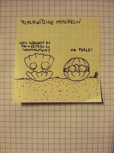 Cartoon: Flachwitzmuscheln (medium) by Post its of death tagged muscheln