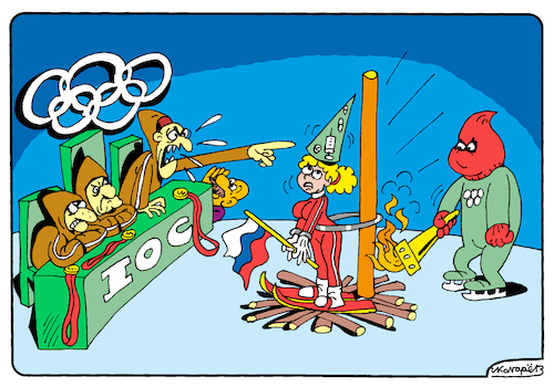 Cartoon: Olympic Inquisition (medium) by Igor Kolgarev tagged olympiade,russische,föderation,ioc,wada,doping,schuld,nationalmannschaft,winter,korea,2018,der,sport,inquisition,verleumdung,ausschuss,flammen,gerechtigkeit,olympiad,russia,blame,national,team,slander,committee,fire,justice