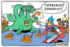 Cartoon: Dragon and separatist (small) by Igor Kolgarev tagged ukraine,donbass,new,russia,donetsk,russian,army,punishers,nazis,protection,soldier,knight,dragon,war,terrorism,separatism,russisch,armee,bestrafer,schutz,soldat,ritter,drachen,krieg,terrorismus,separatismus