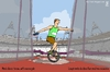 Cartoon: Discus throw with monocycle (small) by raim tagged discus,throw,monocycle,games,olympics