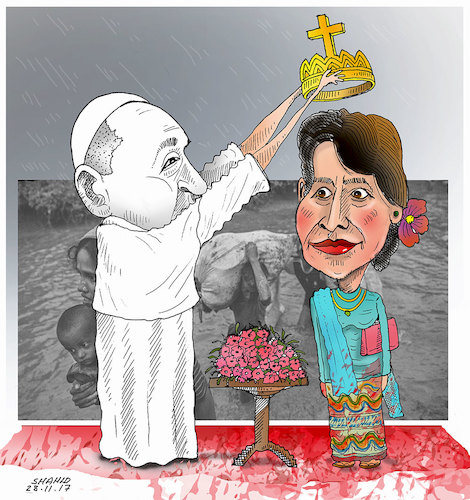 Cartoon: Pope in Myanmar ! (medium) by Shahid Atiq tagged myanmar