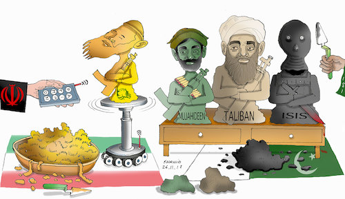 Cartoon: Terrorist maker! (medium) by Shahid Atiq tagged afghanistan,balkh,helmand,kabul,london,nangarhar,attack
