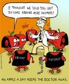 Cartoon: an apple a day keeps the Dr away (small) by sardonic salad tagged apple,apples,doctor,gang