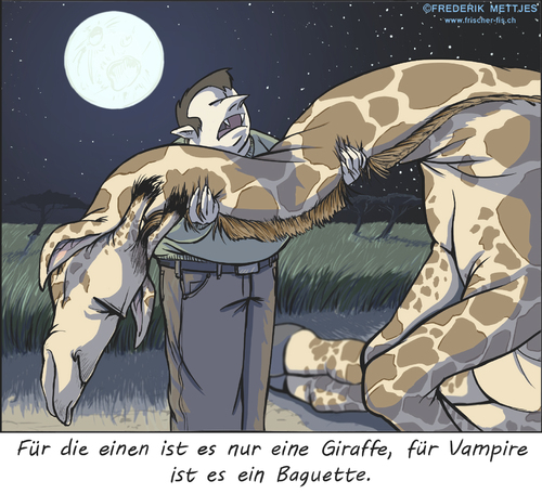 Cartoon: Vampir (medium) by Zapp313 tagged vampir,giraffe,blutsauger,afrika,baguette,essen,snack,mond,mondschein,steppe