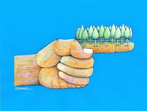 Cartoon: Green Target (medium) by ercan baysal tagged green,target,hand,finger,artwork,tree,environment,ercanbaysal,cartoon,illustration,forest,handmade,create,humour,mixed,pencil,symbol,picture,master,dream,fantasy,surreal,paint,coloring,vision,daydream,idea,ecology,fineart,coloured