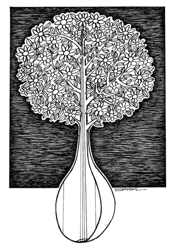 Cartoon: Instrumental (medium) by ercan baysal tagged turkey,ercanbaysal,illustration,cartoon,hite,blackiw,ink,line,wired,logo,tattoo,tshirt,branch,leaf,tree,instrumental,instrumen,turkiye
