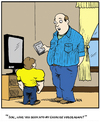 Cartoon: Father son moment. (small) by Tim Akin Ink tagged father,son,humor,exercise,cartoon,funny,comic,dad,dvd,tapes,workout