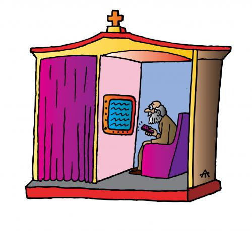 Cartoon: Admission (medium) by Alexei Talimonov tagged admission,confession,religion,church