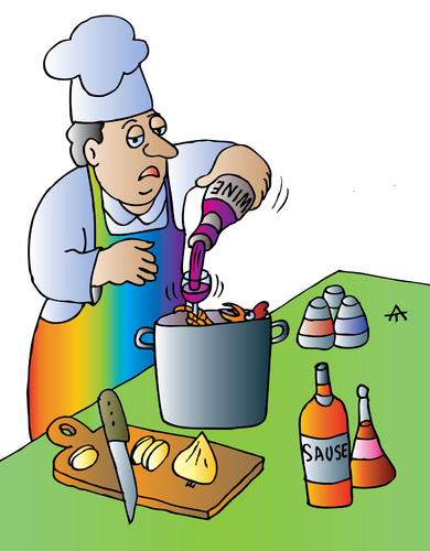 Cartoon: cook and wine (medium) by Alexei Talimonov tagged wine,cooking,restaurant,koch,cook