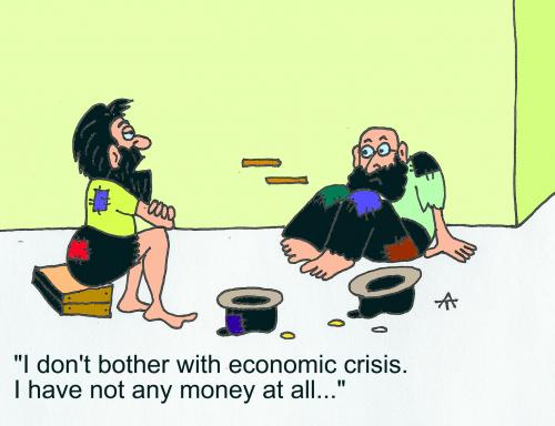 Economic crisis, cartoon
