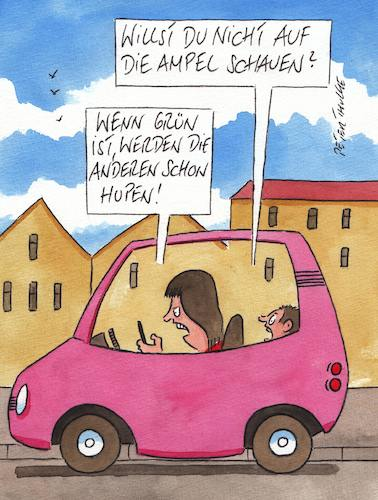 Cartoon: ampel (medium) by Peter Thulke tagged smartphone,frau,handy,auto,smartphone,frau,handy,auto