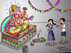 Cartoon: Lord Ganesha (small) by mangalbibhuti tagged ganesha,india,mangalbibhuti,indiangod,cartoon,cartoonganesh