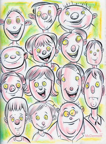 Cartoon: Cartoon Faces (medium) by Cartoons and Illustrations by Jim McDermott tagged faces,sketchbook