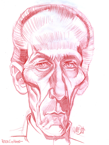 Cartoon: Peter Cushing (medium) by Cartoons and Illustrations by Jim McDermott tagged movies,caricature,linedrawing,horror,fantasy