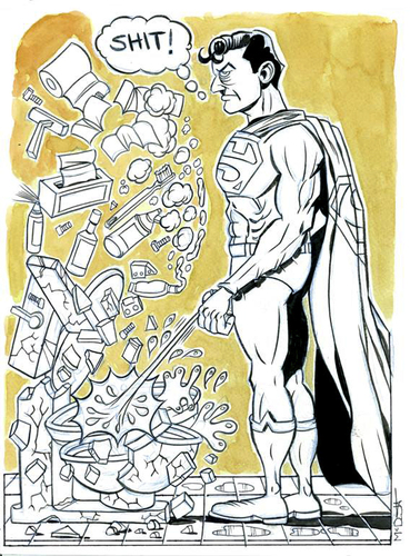 Cartoon: Supermans Pee (medium) by Cartoons and Illustrations by Jim McDermott tagged bathroom,heros,comics,superman