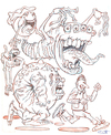 Cartoon: Flying Friends (small) by Cartoons and Illustrations by Jim McDermott tagged sketchbook,monsters,scary