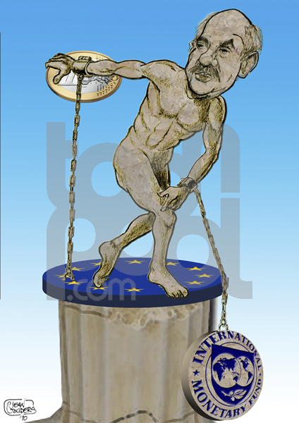Cartoon: financial crisis greece (large) by jean gouders cartoons tagged financial,crisis,greece,papandreu,jean,gouders