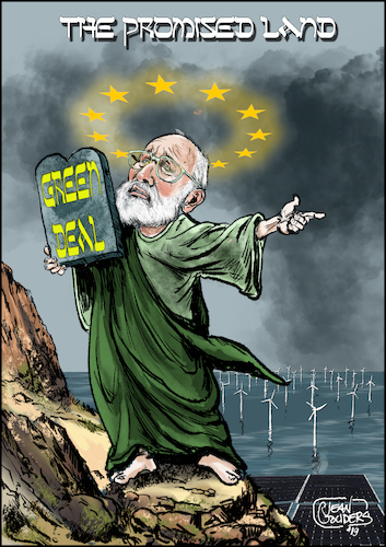 Cartoon: The promised land (medium) by jean gouders cartoons tagged eu,frans,timmermans,environment,green,deal,climate,change,eu,frans,timmermans,environment,green,deal,climate,change