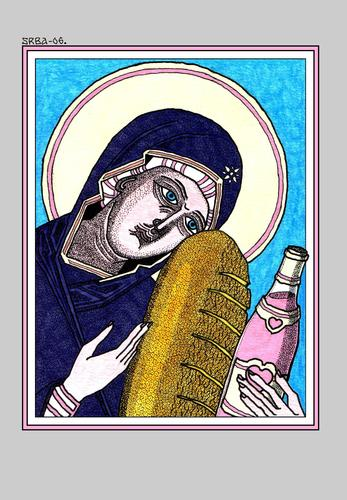 Cartoon: Mother of Jesus (medium) by srba tagged madonna,mother,of,jesus,bread,wine