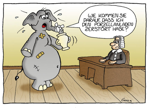 Cartoon: Vor Gericht (medium) by Georg tagged elefant,gericht,porzellan,unschuldig