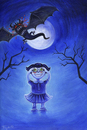 Cartoon: monster and little girl courage (small) by trayko tagged monster,horror