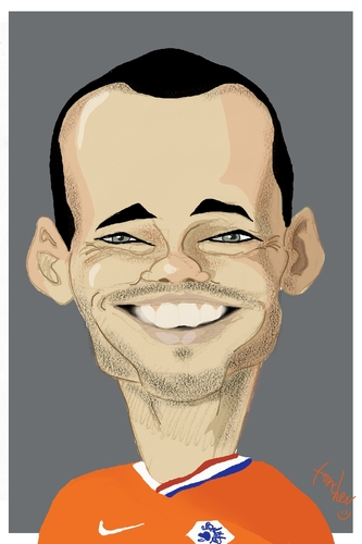 Cartoon: Wesley Sneijder (medium) by Bravemaina tagged wesley,sneijder,netherlands,holland,soccer,football,dutch