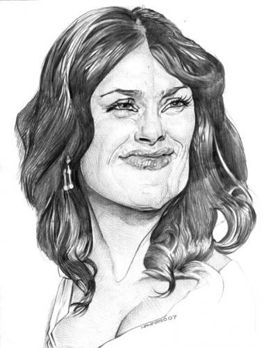 Cartoon: salma hayek (medium) by salnavarro tagged caricature,pencil
