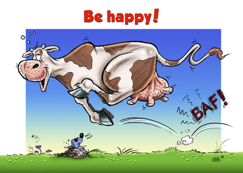 Cartoon: Spring is in the Air (medium) by Stan Groenland tagged spring,cow,happiness,happy,cartoon,funny,art,animals,greeting,cards
