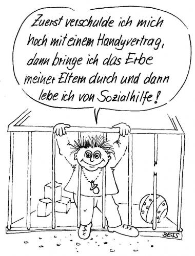 Cartoon: Durchblick (medium) by besscartoon tagged sozialhilfe,handy,kind,besscartoon,bess,eltern