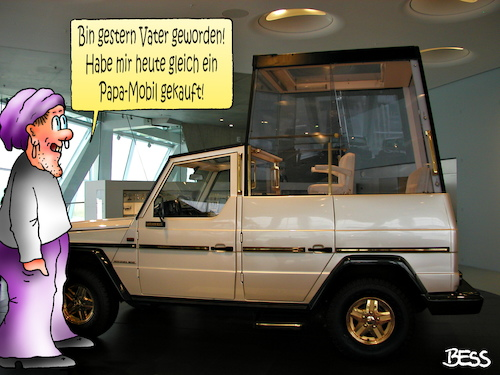 Cartoon: konsequent (medium) by besscartoon tagged vater,papa,papamobil,auto,daimler,mercedes,benz,papst,bess,besscartoon