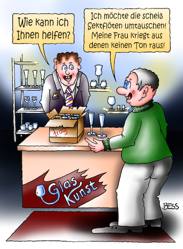 Cartoon: Reklamation (medium) by besscartoon tagged mann,frau,flöte,geschäft,glas,sekt,sektflöte,musik,bess,besscartoon