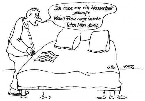 Cartoon: Wasserbett (medium) by besscartoon tagged paar,wasserbett,frau,mann,besscartoon,bess,bett,schlafen