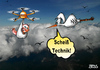 Cartoon: Scheiß Technik (small) by besscartoon tagged technik,amazon,drohne,storch,himmel,vögel,klapperstorch,zukunft,geburt,baby,bess,besscartoon