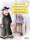 Cartoon: up to date (small) by besscartoon tagged religion,weihwasser,vegan,up,to,date,pfarrer,priester,katholisch,kirche,bess,besscartoon