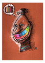 Cartoon: Media - African Face (small) by Osama Salti tagged 2010 media human african face tv colored teeth rainbow thought influence life people