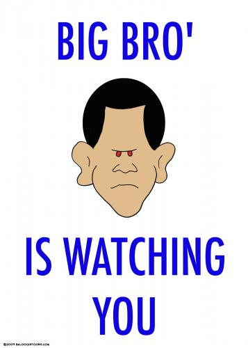 Cartoon: big bro is watching you obama (medium) by rmay tagged big,bro,is,watching,you,obama