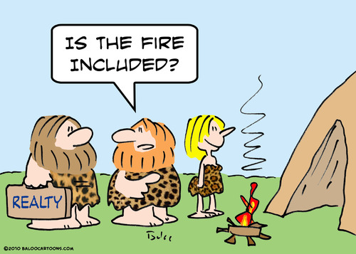 Cartoon: cave fire included realty (medium) by rmay tagged cave,fire,included,realty