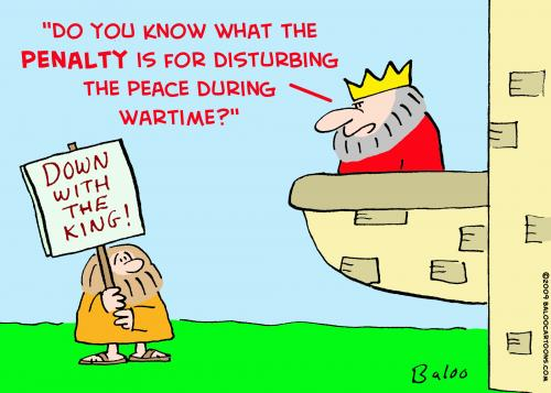 Cartoon: king disturbing peace (medium) by rmay tagged king,disturbing,peace