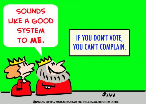 Cartoon: KING VOTE COMPLAIN (medium) by rmay tagged king,vote,complain