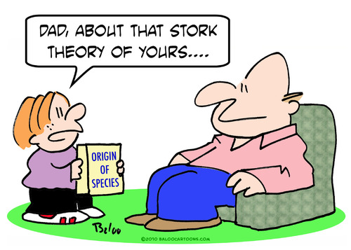 Cartoon: Stork theory Darwin origin spec (medium) by rmay tagged stork,theory,darwin,origin,species