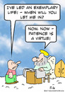Cartoon: heaven patience is a virtue (small) by rmay tagged heaven,patience,is,virtue